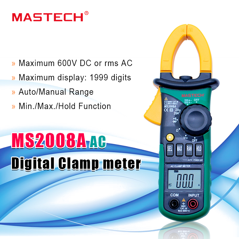 MASTECH Ohmmeter Digital-Clamp-Meters MS2008A Current-Voltage-Tester Auto-Range Backlight