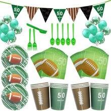 Партия набор Американский футбол фестиваль баннер 8 человек 4 шт бумажный лоток бумажные стаканчики рождественские украшения