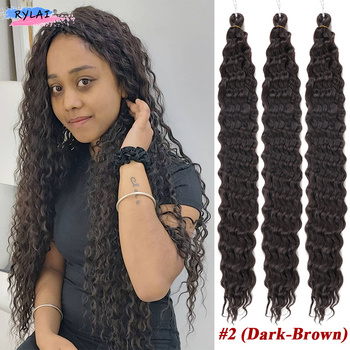 Deep Wave Crocheted Twist Organic Hair Crochet Braids Ombre Braiding Hair Extensions Synthetic Afro Curls For Women Anjo Plus 5