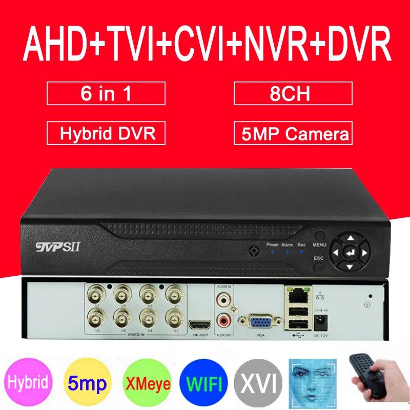 Caméra de Surveillance 5mp H.265 + Hi3521D Xmeye 8 canaux 4 canaux 4CH,8CH 6 en 1 WIFI hybride XVI CVI TVi NVR AHD CCTV DVR