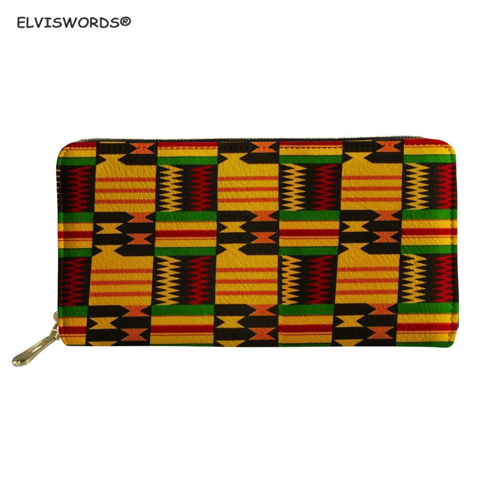ELVISWORDS Long Leather Women's Wallets African Traditional Print Large Card Holder For Ladies Girls Waterproof Money Coin Purse