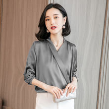 2019 Lente Mode Vrouwelijke Casual Elegant Solid Chiffon Blouse Vrouwen Zijde Satijn Shirts Office Lady Carrière Blusa Trui tops(China)