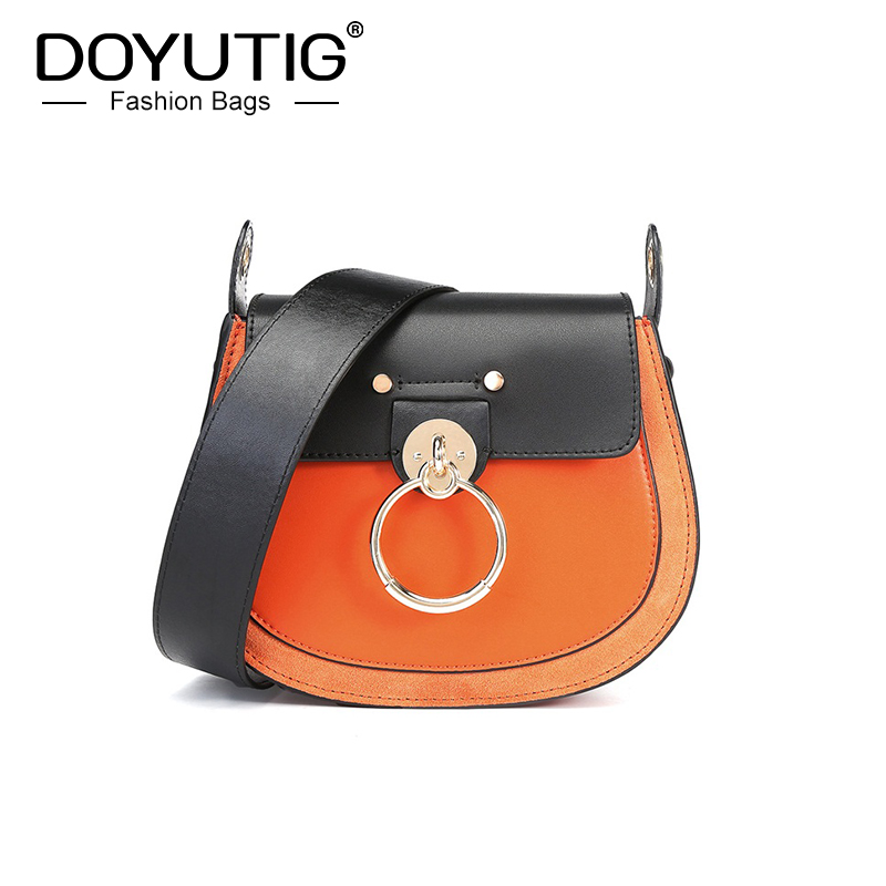 DOYUTIG New Arrival Women's Real Cow Leather Messenger Bags For Shopping Lady Black & Orange Real Lether Shoulder Bags F685