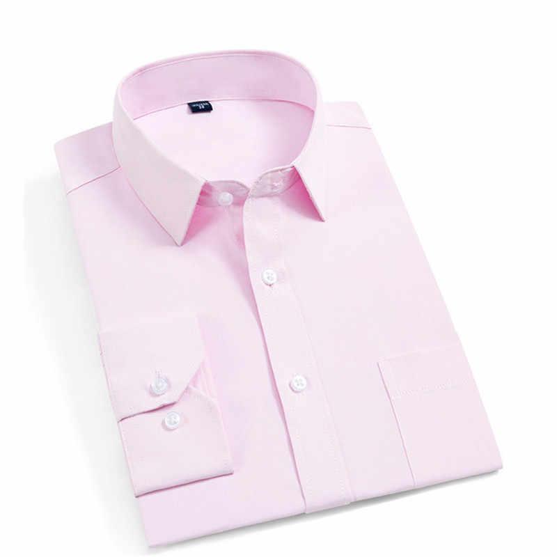 Męska koszula z długim rękawem 2019 wiosna nowy marka Solid Color Business Office formalna męska sukienka koszula Plus rozmiar 4xl koszula męska koszulka