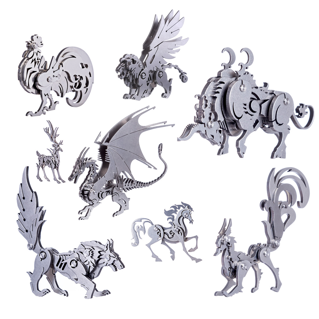 DIY Assembled Model Kit 3D Stainless Steel Assembled Detachable Animal Model Puzzle Ornaments Wild Wolf Cattle Dragon Manticore