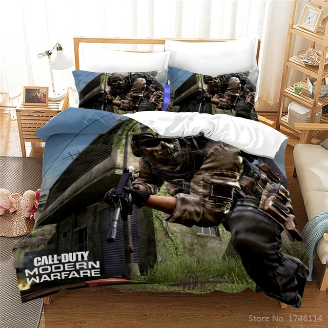 3d Game Call Of Duty Printed, Call Of Duty Queen Bedding