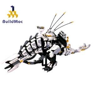 Buildmoc DIY MOC Super Horizon Dawn Thunder Tooth, механические строительные блоки серии Monster, игрушки для детей, подарки