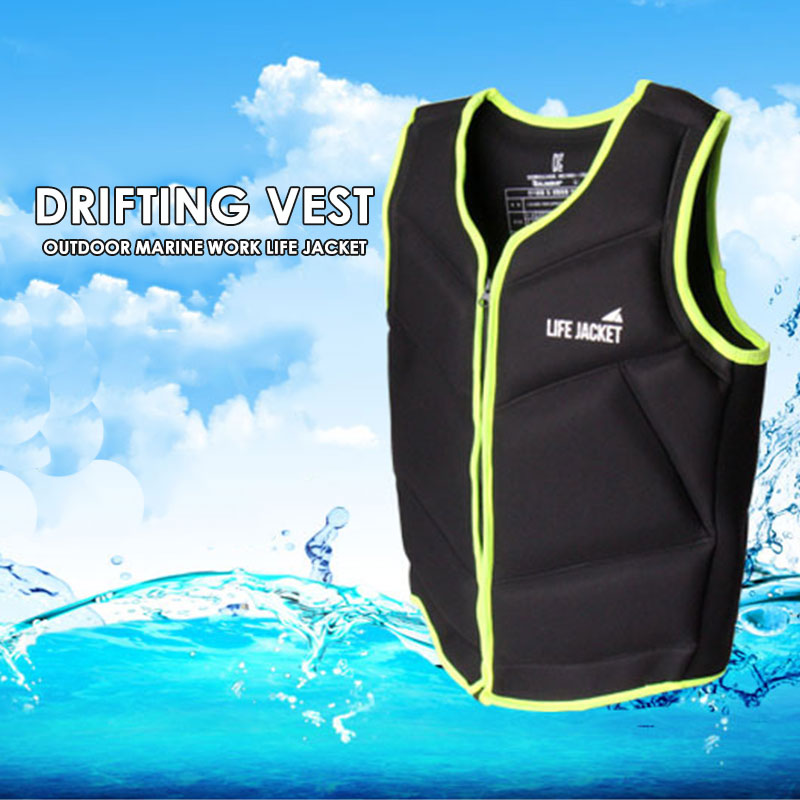 Durable Outdoor Canoeing Buoyancy Adult Neoprene Rescue Sea Fishing Vest Fishing Life Jacket Detachable Black Floating Jacket