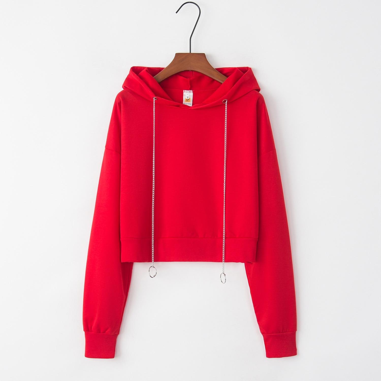 Crop Top Red 2020 New Design Hot Sale Hoodies Sweatshirts Women Casual Kawaii Harajuku Sweat Girls European Tops Korean