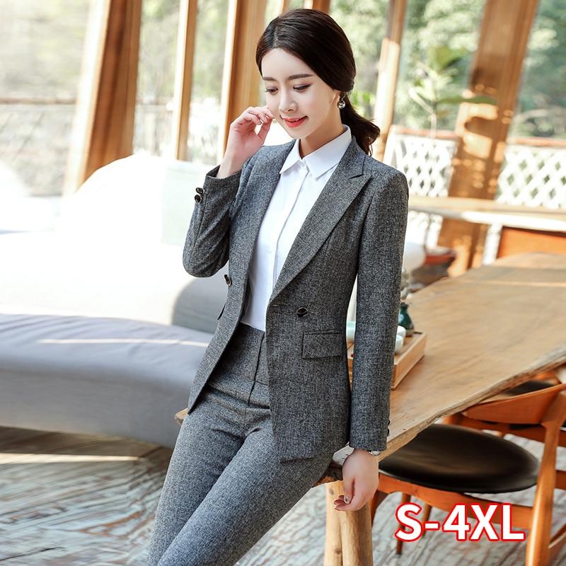 Formal Pant Suits Women Blazer Set Office Lady Business Work Uniforms Jackets Pants Female Black Trousers Plus Size 4XL XXL