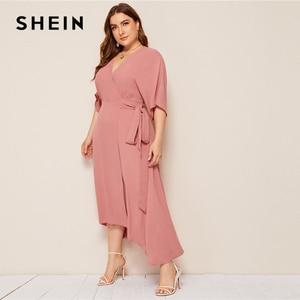 Image 4 - SHEIN Plus Rosa tamaño sólido Surplice cuello abrigo con cinturón Maxi Vestido Mujer otoño Kimono manga A línea alta cintura elegante vestidos