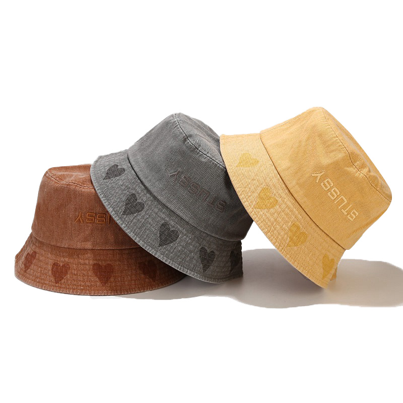 New Unisex Hat Brim Love Fisherman Hat Wash Retro Old Foldable Basin Hat Men Women Outdoor Sunscreen Hat Solid Bucket Cap Summer