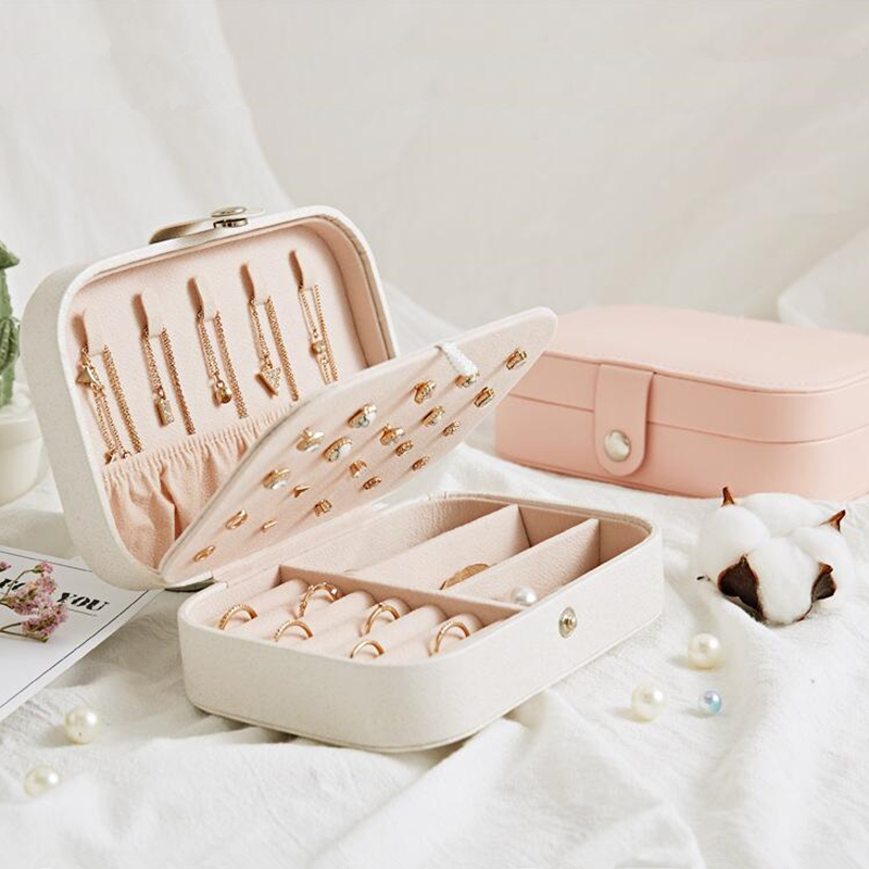 Jewelry Storage Box Square Portable Earring Ring Necklace Case Multifunction Container Jewel Case