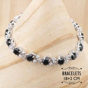 Image 2 - 黒ジルコン 925 シルバーブライダルジュエリーセットイヤリング石/リング/ペンダント/ネックレス/ブレスレットセットのための女性無料ギフトボックス