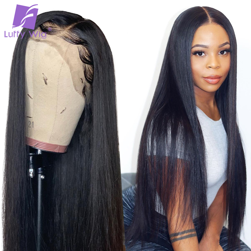 13x6 Fake Scalp Straight Lace Front Wig 130%-180% Pre Plucked Long Remy Brazilian Human Hair Wigs Bleached Knots For Women LUFFY