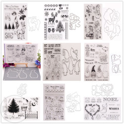 (29 Styles) 2020 Christmas Deer Gift Clear Stamps and Metal Cutting Dies DIY Scrapbooking Paper Album Crafts Seal Cards Stencils
