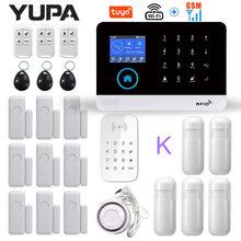 Wifi gsm sistema de alarme de segurança em casa com teclado sem fio & sensor movimento assaltante anti roubo tuya app controle remoto kit inteligente