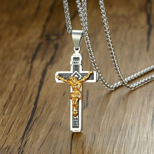 ZORCVENS Male Punk Vintage INRI Necklace Stainless Steel Jesus Cross Necklace for Man(China)