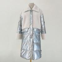 Silver parka real fur 100% wool fur coat winter women 90% white duck down jacket patchwork long style warm coats Snow Russia
