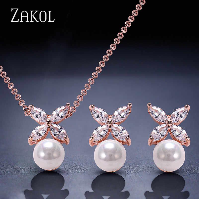 ZAKOL Simulated Pearl Jewelry Set Trendy Cubic Zircon Pendant Necklace Earrings Set Leaf Crystal Jewelry For Women FSSP293