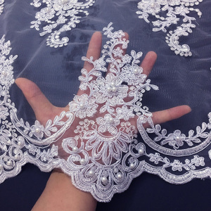 Image 5 - African Beaded Lace Fabric 2020 High Quality Lace Material White French Lace Fabric Nigerian Tulle Mesh Lace Fabrics K D2327
