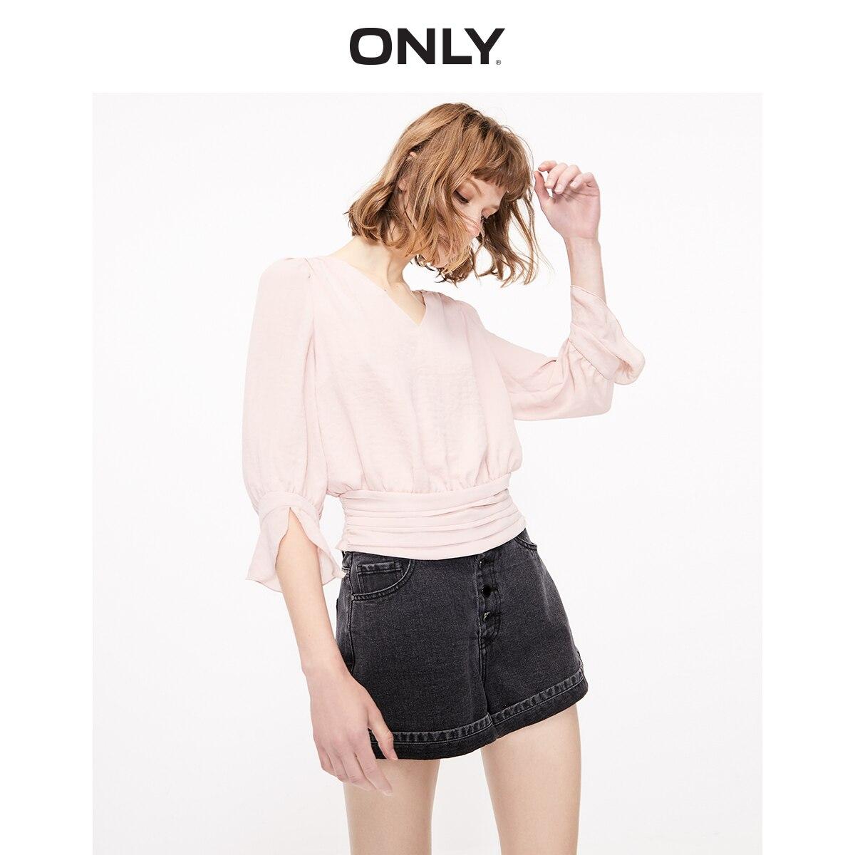ONLY Women's V-neckline Elasticized Waist Long-sleeved Chiffon Shirt | 119258509