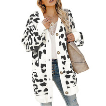 2019 autumn and winter sweater women long lantern sleeves buckle leopard cardigan
