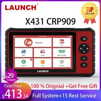 цена на LAUNCH X431 CRP909 OBD2 Car Diagnostic Scanner Professional OBD2 Scanner Airbag SAS TPMS IMMO Reset OBD Auto Code Reader LAUNCH