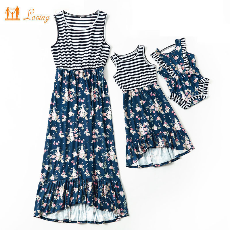 Mother Daughter Dresses Matching Mommy And Me Clothes Family Look Mom Mum Women Baby Girls Dress Family Outfits Highwaist Tank