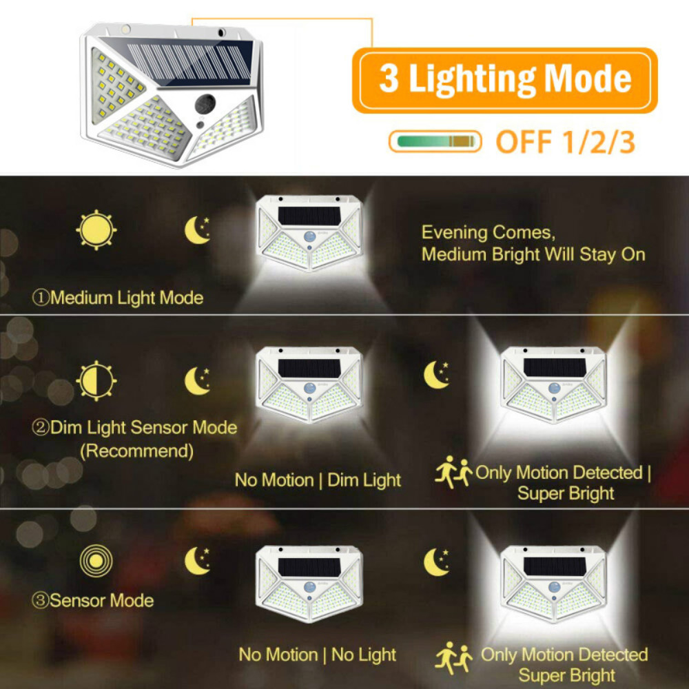 126 светодиодная Солнечная лампа на открытом воздухе IP65 ...