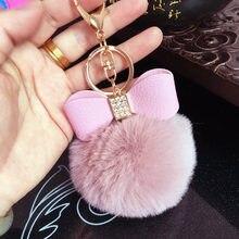 Porte-clés Pompon en fausse fourrure pour femmes, strass en cuir, nœud papillon, boule de lapin artificielle, pendentif de sac, porte-clés de voiture, cadeau
