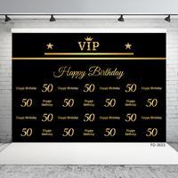 Fondo de foto de fiesta de cumpleaños con nombre personalizado, 50 °, 40, 30, 25 y 18 pulgadas, utilería de fondo, póster de lunares dorados, estudio fotográfico