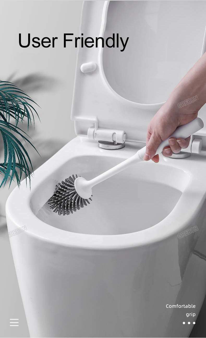 WTYJ Silicone Toilet Brush and Holder,Bathroom Toilet Brush Holder Set,Deep Clean Silicone Toilet Brushes with TPR Soft Bristle 2White
