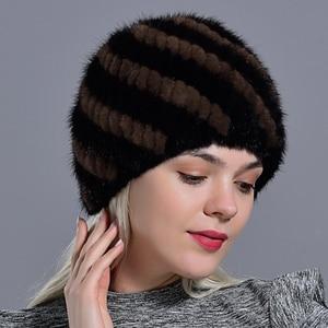 Image 4 - winter womens mink fur hats natural real fur knitted cap fashionable fluffy ladies genuine fur beanie female black fur caps