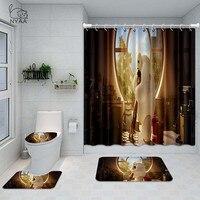 NYAA 4 Pcs Big Hero 6 Shower Curtain Pedestal Rug Lid Toilet Cover Mat Bath Mat Set For Bathroom Decor