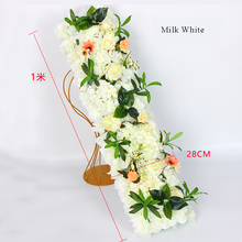 1m Road cited flowers and PE foam base flower row hydrangea silk wedding decoration props road lead layout decorative
