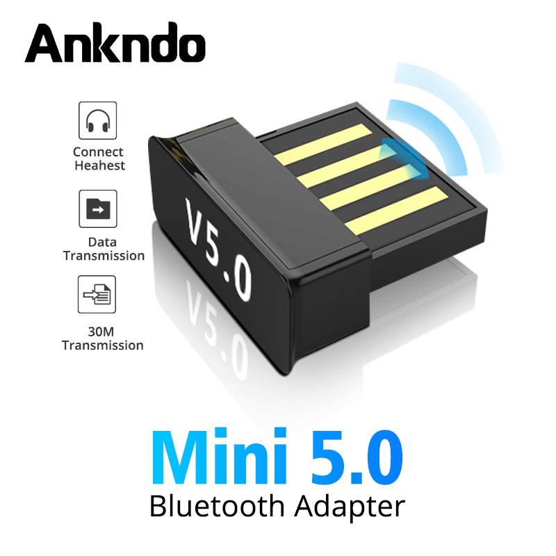 ANKNDO USB Bluetooth Adapter Mini USB Dongle Bluetooth 5.0 PC Tablet Headphone Music Receiver Gampad Keyboard Wireless Connector