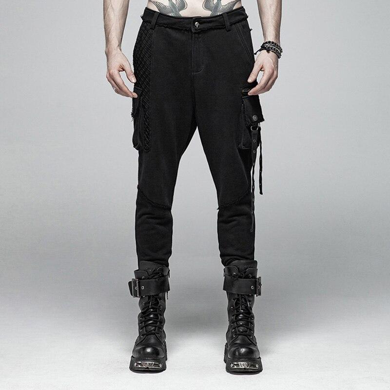PUNK RAVE Mens Punk Rock Black Knit Trousers Casual Mens Streetwear Big Pocket Long Punk Personality Cross Pants