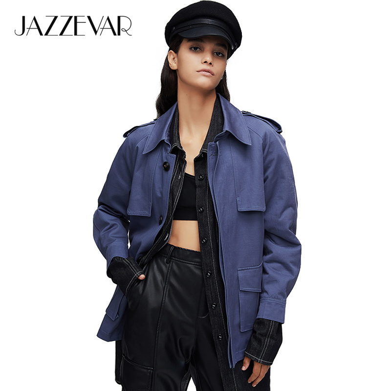 JAZZEVAR 2019 New Arrival Autumn Trench Coat Women Light Color Cotton Double Breasted Short Fashion Women Coat For Autumn 9016-1
