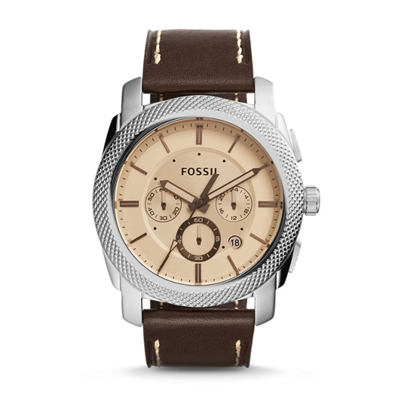 FOSSIL Men's Machine Watch in Silvertone with Brown Leather Strap and Amber Tinted Dial Chronograph Watch for Men FS5170P