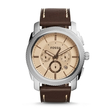 FOSSIL Men's Machine Watch in Silvertone with Brown Leather Strap and Amber Tinted Dial Chronograph Watch for Men FS5170P все цены