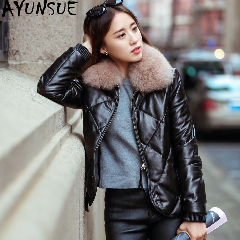 AYUSNUE 2019 Women's Fur Coat Female Sheepskin Coat Winter Jacket Women Fox Fur Collar Down Jacket Real Leather Jackets MY4219