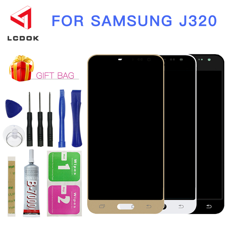 Adjustable Brightness LCD For Samsung Galaxy J3 2016 J320 J320F J320M LCD Display Touch Screen Digitizer Assembly Panel Parts
