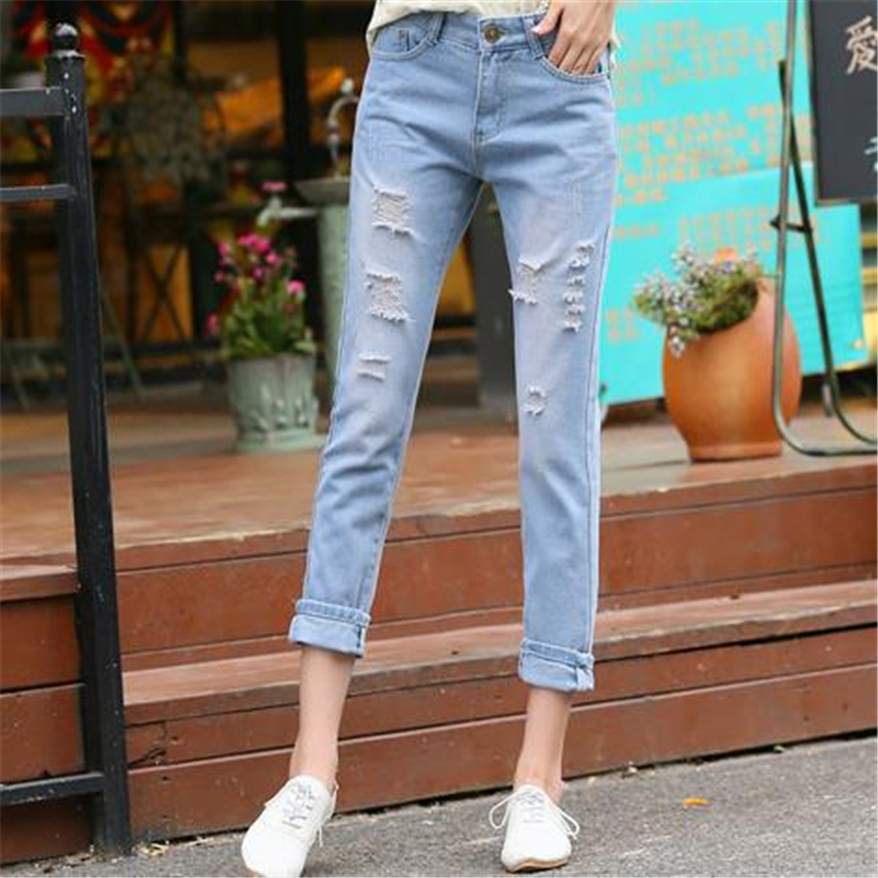 Women Summer Spring Plus Size Leisure Hole Relaxed Capris Jeans Casual Straight Loose Jeans