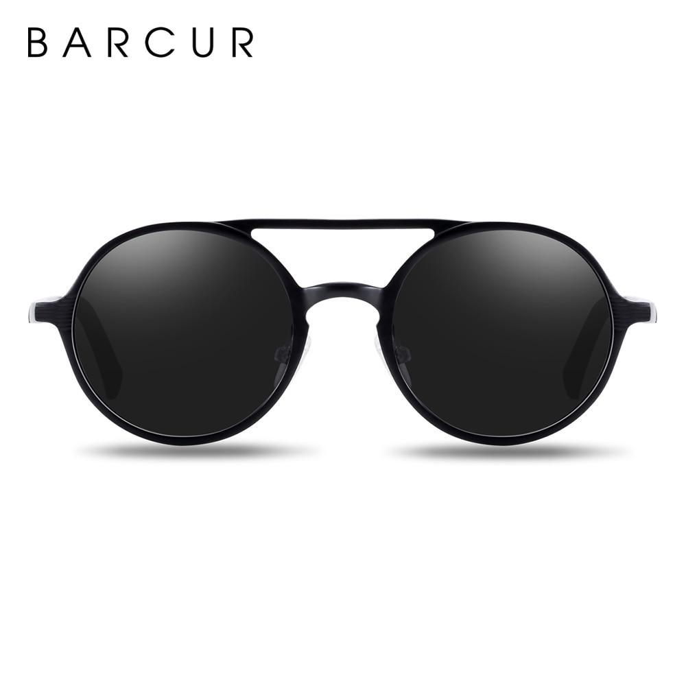 BARCUR Hot Black Goggle Male Round Sunglasses Luxury Brand Men Glasses Retro Vintage Women Sun glasses UV400 Retro Style 10