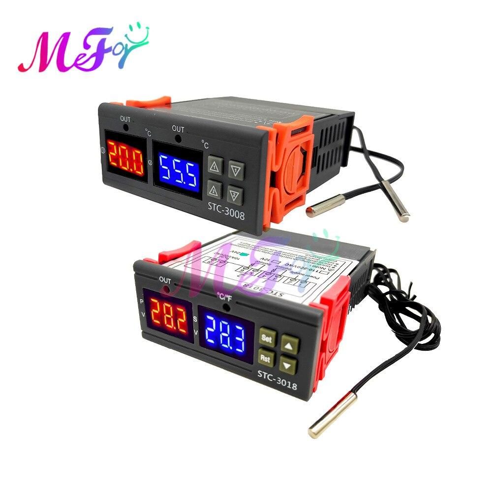 Цифровой светодиодный регулятор температуры STC-1000 3000 3008 3018 3028, термостат, терморегулятор 12 В, 24 В, 110 В, 220 В, термометр
