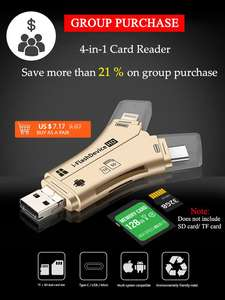 Card-Reader Lighting Computer-Extension Micro-Usb Usb-Type-C Apple Android for 4-In-1