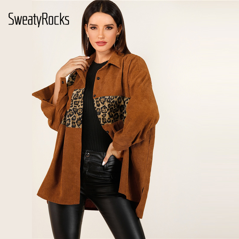 SweatyRocks Contrast Leopard Print Corduroy Coat Women Single Breasted Brown Outerwear 2019 Autumn Pocket Front Casual Jackets