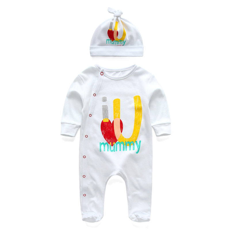 New Summer Fashion Kids Baby Clothes Newborn Baby Boy Girl  Rompers And Dot Hat Set Infant Toddler Romper Clothing 3 6 Months