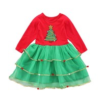 Новая одежда для маленьких девочек, платье для девочек на осень с изображением новогодней елки, праздничная одежда для детей вечерние костю...